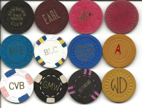 Group Of 12 Different Casino Chips From ILLEGAL-CALIFORNIA or UNKNOWN Spots-#5
