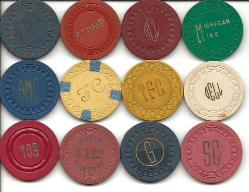 Group Of 12 Different Casino Chips From ILLEGAL-CALIFORNIA or UNKNOWN Spots-#7