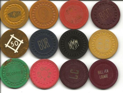 Group Of 12 Different Casino Chips From ILLEGAL-CALIFORNIA or UNKNOWN Spots-#9