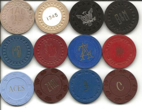 Group Of 12 Different Casino Chips From ILLEGAL-CALIFORNIA or UNKNOWN Spots-#10