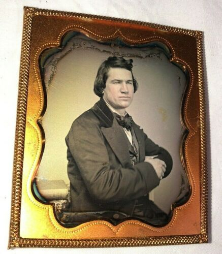 6th Plate Daguerreotype Young Man Arms Crossed, Side View, Flesh Tones, Full Cas
