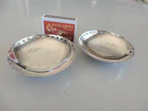 Two vintage .800 silver bowl-shaped pin dishes
