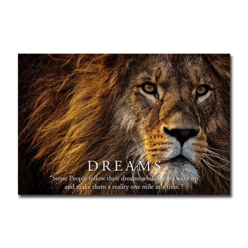 Dreams Lion Motivational Poster Wall Art Print Home Office Room Decor 24x36 inch