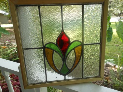 K-8-285 Reframed Leaded Stain Glass Window F/England 18 3/8 X 17 3/4 4 Available