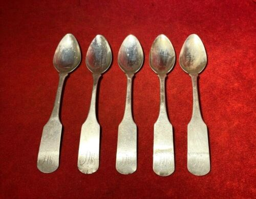 CIRCA 1800'S EARLY AMERICAN MATCHING MONOGRAMMED COIN SILVER SPOONS