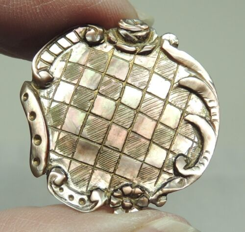 """CARVED & ENGRAVED MOP SHELL BUTTON W/ FANCY BORDER ~  1"""""""