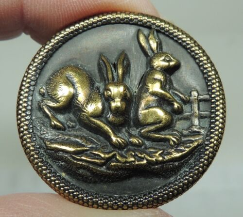 """ANTIQUE BRASS PICTURE BUTTON ~ 2 RABBITS   NEARLY 1 1/4"""""""