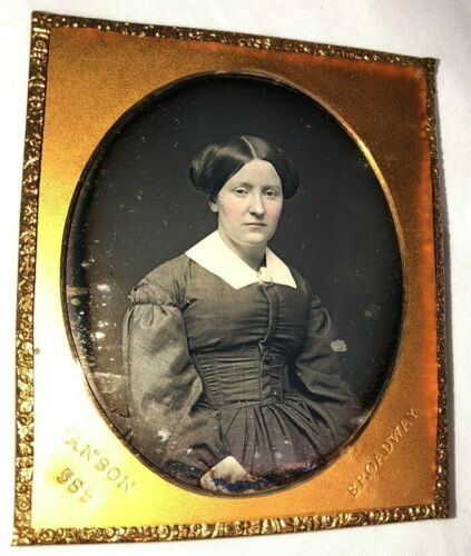 6th Plate Daguerreotype Young Woman by Anson NY, Nice Skin Tones
