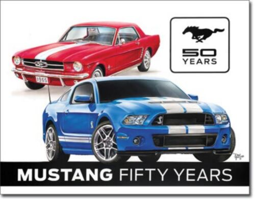 Mustang 50 Years Ford Anniversary Metal Sign Tin New Vintage Style USA #1993