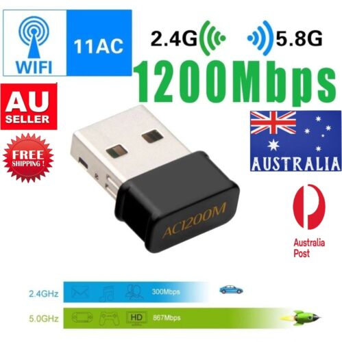 1200Mbps Mini USB Wifi Adapter 2.4G/5G Dual-Band Wireless Adapter for Desktop PC
