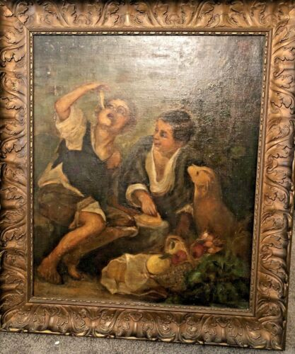 Antique 1800's Oil Painting Children Eating Pie Copy Murillo Gesso Wood Frame