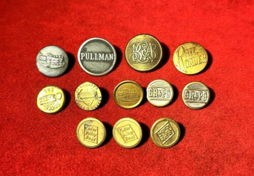 GREAT ANTIQUE RAILROAD BUTTONS COLLECTION - RAILROADIANA