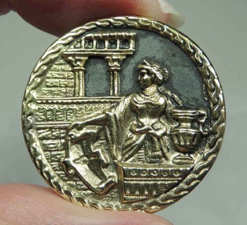 ANTIQUE BRASS PICTURE BUTTON ~ LADY ON A TERRACE W/ PITCHER