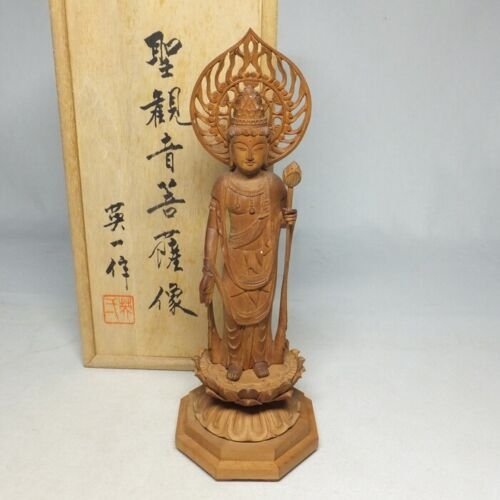 E0108: Japanese KANNON (Guanyin) statue of wood carving ware with very good work