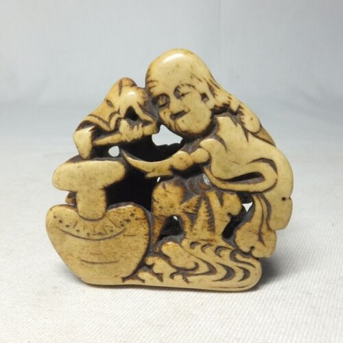 E0219: High-class Japanese really old NETSUKE of hermit with wonderful work