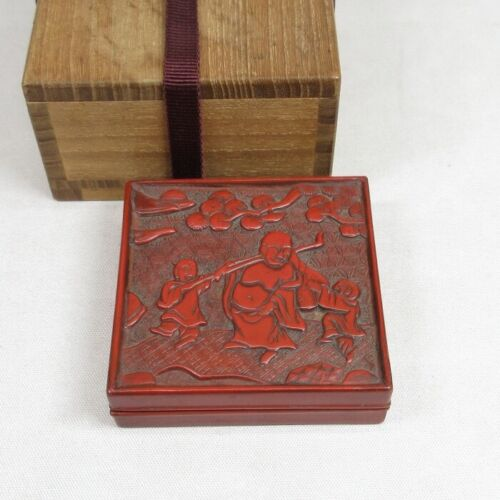 E0075: Chinese old lacquer ware incense case of very good work of TSUISHU style