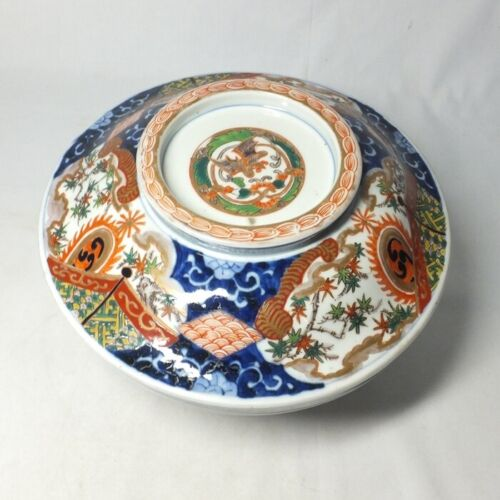E0023: Real Japanese OLD IMARI porcelain big covered bowl with good painting