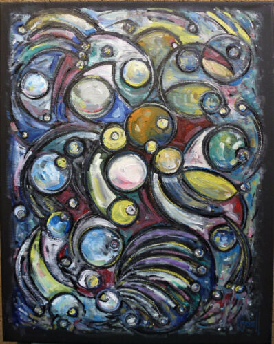 CONTROLLED CHAOS abstract painting original 16x20 BLACK canvas signed Crowell $