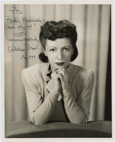 Vintage American Writer Katharine Brush Hand Signed Autographed 1944 Photograph