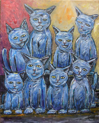 A BUNCH OF BLUE CATS wow painting 16x20 canvas pet original NEW signed CROWELL