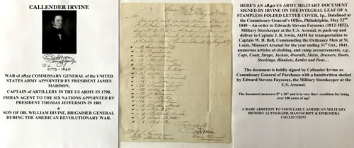 PRESIDENT MADISON WAR 1812 COMMISSARY GENERAL SIOUX INDIAN AGENT DOCUMENT SIGNED