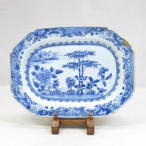 E0102: Chinese old fine blue-and-white porcelain BIG plate of Qing Dynasty age