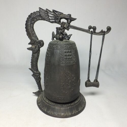 E0080: Chinese appropriate hanging bell of copper ware with dragon hanger