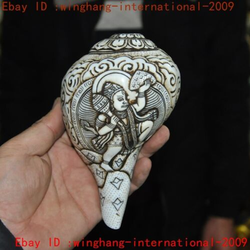 """6""""Tibet Buddhism conch carved Elephant Jambhala statue Conch Trumpet Horn Shell"""