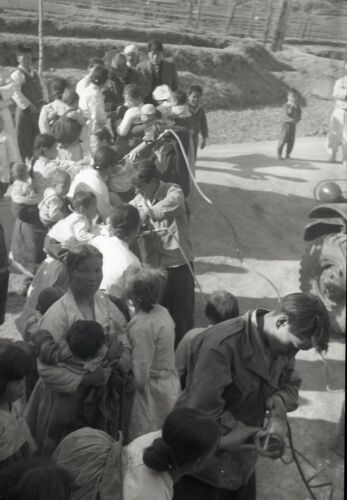 # 4 OLD HISTORICAL PHOTO NEGATIVE KOREA PEOPLE TOWN SOLDIERS VACCINATION 1950'S