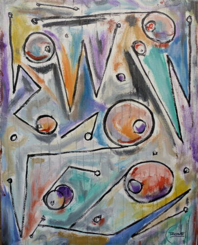 STILL THE SAME abstract art BIG 16x20 oil Painting original signed by Crowell