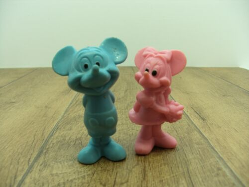 Vintage rubber feel Disney Mickey Mouse Minnie Mouse figurines blue pink plastic