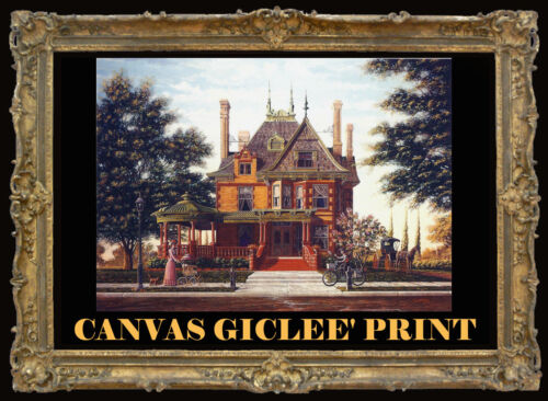 Victorian Mansion Fort Worth McFarland Hand Painted Canvas Print SIGNED Souders