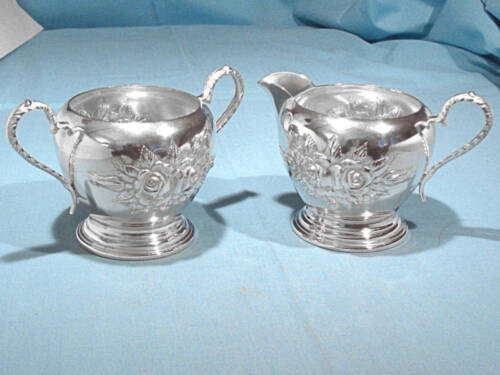 STIEFF HAND CHASED STERLING CREAMER & SUGAR ~ STIEFF ROSE ~ NO MONO