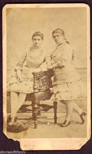 19th C. TWIN PROSTITUTE S ORIGINAL PHOTO /CDV ~ VICTORIAN BROTHEL ~RARE PORTRAIT