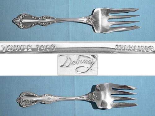 "TOWLE STERLING 8 1/2"" SERVING FORK ~ DEBUSSY ~ NO MONO"