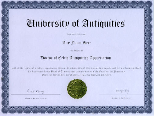 Doctor Celtic Antiquities Appreciation Novelty Diploma