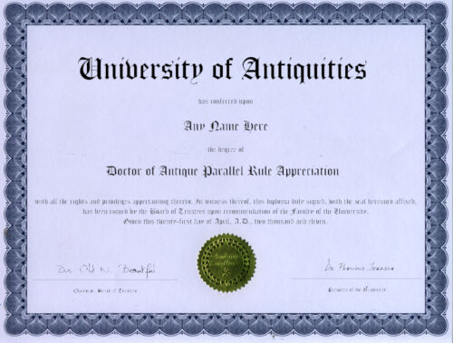 Doctor Antique Paralllel Rule Appreciation Diploma