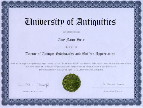 Doctor Antique Sideboard and Buffet Appreciate Diploma