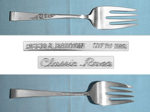 REED & BARTON STERLING SERVING FORK ~ CLASSIC ROSE ~ NO MONO