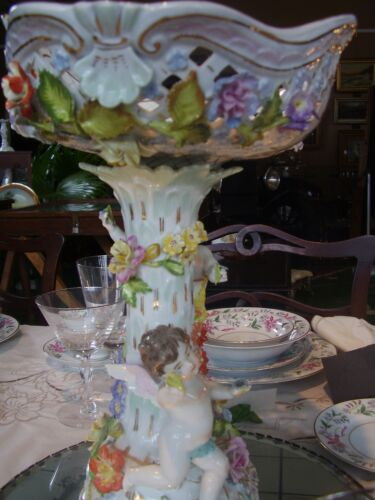 WOW! c1920 DRESDEN MARK Angel Cherub Flowers Centerpiece Bowl Compote china