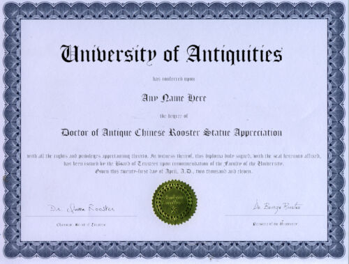 Doctor Antique Chinese Rooster Statue Novelty Diploma