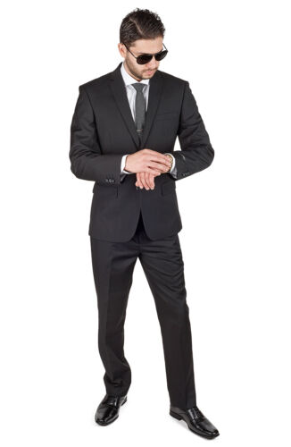 Slim Fit Men Suit Solid Black 2 Button Flat Front Pants Fitted Style By AZAR MAN <br/> Free Solid Black Skinny/Slim Tie Included.