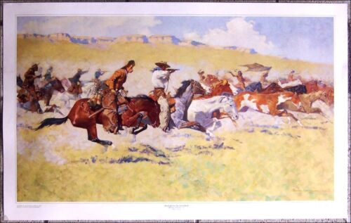 """The Fight For The Stolen Herd by Frederic Remington  37"""" X 23"""" Western Art Print"""
