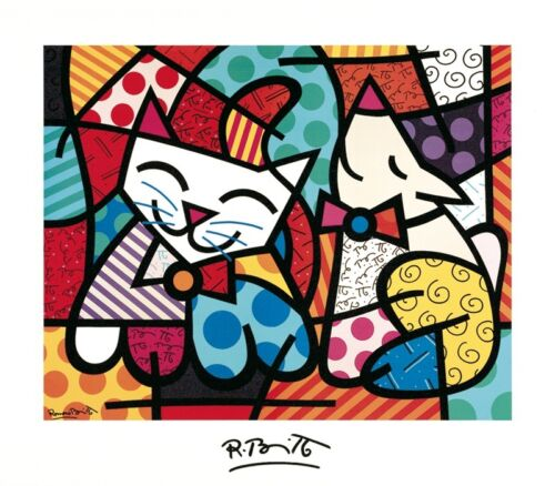 "BRITTO ROMERO - HAPPY CAT AND SNOB DOG - ART PRINT POSTER 28"" x 32"" (980)"