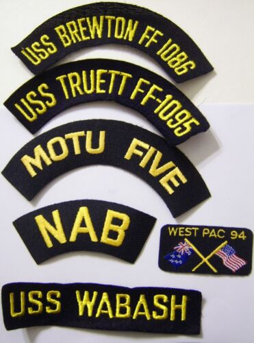 USN SHIP/UNIT CAP OR JACKET PATCHES LOT OF 6 PIECES:E1Other Militaria - 135