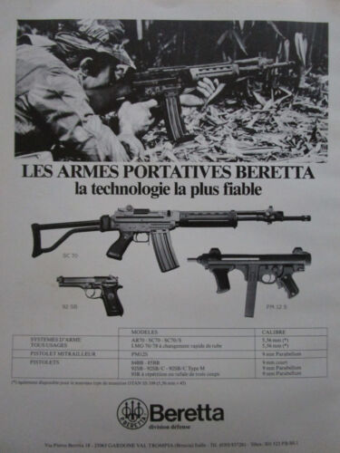 4/1984 PUB BERETTA PM 12S SC 70 PISTOLET WEAPON AUTOMATIC RIFLE ARMY FRENCH AD