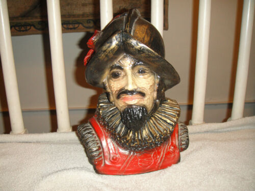 Vintage Spanish Conquistador Soldier Bust Plaster Pottery Bust Man