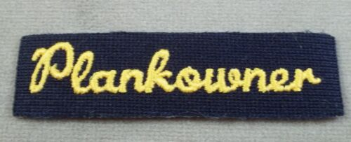 US Navy Yellow Gold - Navy Blue Plankowner Patch Tab With Iron On BackingNavy - 66533
