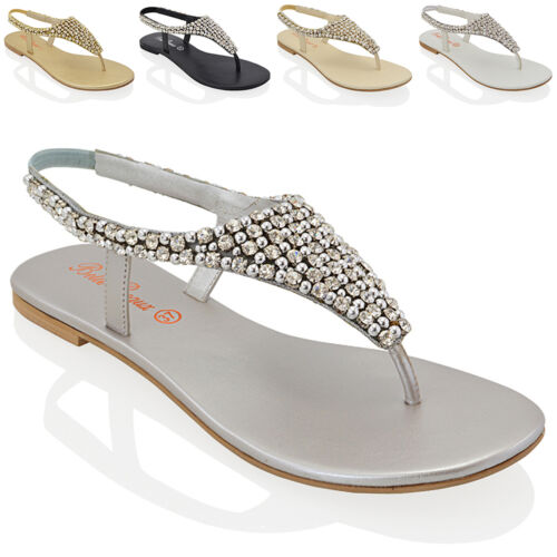 Ladies Flat Toe Post Womens Diamante Pearl Holiday Dressy Party Sandals Size 3-9 <br/> FREE UK DELIVERY !!!!!!!!!!!!!!!!!!!!!!!!!!