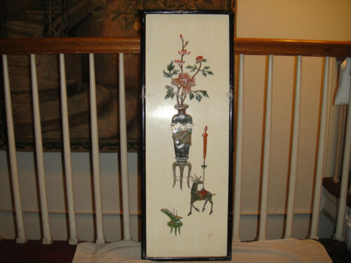 Antique Japanese Panel Or Screen-Jade Relief On Wood Back-Unusual Japanese Art